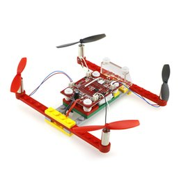 Wholesale Motor Built - Mini DIY Building Block RC Drone Dron RTF 2.4GHz 4CH 6-Axis Gyro Helicopter Beginner Level Indoor Quadcopter