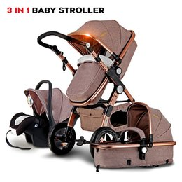 Wholesale luxury prams - Luxury Baby Stroller 3 in 1 High Landscape Baby Carriage For Kids With Baby Car Seat Prams For Newborns Pushchair carrinho de