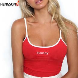 Bianca sexy del carro armato stretto online-Donna Honey Leer Strap Canotte 2018 Donna Slip Crop Top Sexy Camis Club Camisole White Red Signore T-shirt aderente