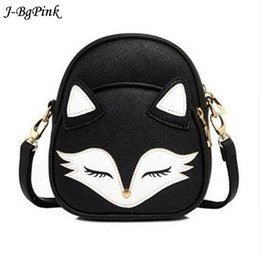 Wholesale Fox Handbags - 2018Cute Fox Rabbit Cat Bear Face Women Bag Baby Girl Mini Shoulder Bag For Women Cross Body Bags Lady PU Leather Handbags Anima