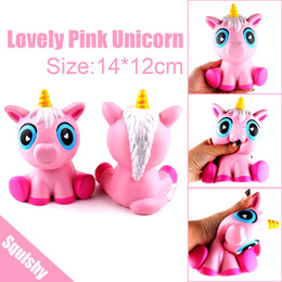 Wholesale play ponies - 14cm New PU Squishy Simulation Unicorn Pink Pony Slow Rebound Children Decompression Toy Simulation Food Play for Children's Day Gift