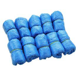 Wholesale Cubiertas de calzado desechables de plástico Cubiertas de bota impermeable médica Cubrezapatos Cubrezapatos de lluvia Cubiertas antideslizantes de color azul Sólido set