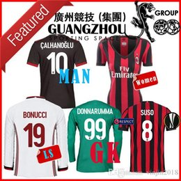 Wholesale Goalkeeper Long Sleeve - 17 18 AC Milan GOALKEEPER Soccer Jerseys EUROPA CUP BONUCCI KALINIC AWAY THIRD BLACK WOMEN CALHANOGLU LONG SLEEVE ANDRE SILVA JERSEY SHIRT