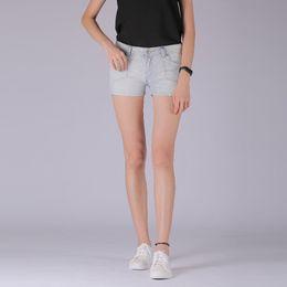 2019 женские шорты джинсовые топы DenimColab Top Clothes Ladies Jeans Skinny Mid Waist Azul Claro Stretch Cotton Denim Jeans Shorts Zipper for Woman дешево женские шорты джинсовые топы