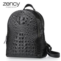 mochila de cocodrilo Rebajas Patrón de cocodrilo de Zency 100% de cuero genuino Moda mujer Mochila bolso de viaje de mujer de cocodrilo mochila portátil mochila de la muchacha