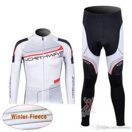 Vestuário térmico para bicicletas on-line-NW equipe Ciclismo Inverno Tornozelo Fleece jersey (bib) calças define novo MTB bicicleta de secagem rápida desgaste bicicleta longa maillot esporte fahrrad C1219