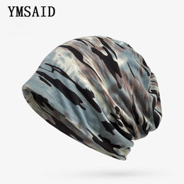 knitted face mask Promo Codes - Ymsaid Winter Hats Men Women Camouflage Beanies Knitted Hat Bib Face Mask 2 in 1 Bonnet Femme Male Cap Summer Autumn Sport New