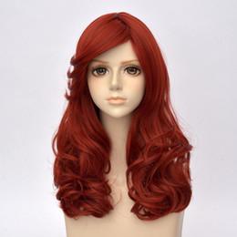 Wholesale Wig Orange Curly Long - 55CM Long Curly Lolita Women Orange Red Party Heat Resistant Cosplay Wig+Wig Cap