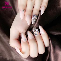 2019 decorazioni finte di diamanti Perle unghie finte 3D lunghe punte curve per unghie finte Diamante DIY Decorazione unghie fai da te decorazioni finte di diamanti economici