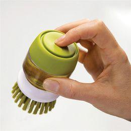 Wholesale green scrub - Cleaning Brushes Soap Liquid Brush Detergent Tank Dishwashing Scrub Tableware Green Grey Non Slip Plastic Silicone Free Shipping 11dj V