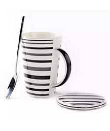 Wholesale korean porcelain - Korean ceramic lovers water cup large capacity coffee cup with cover and spoon set