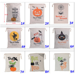 Wholesale pumpkin food - Halloween Pumpkin Bags Canvas Drawstring Christmas Gift Wrap Bags Tricks Or Treat Printed Festival Party Decor 9 Designs HH7-1294