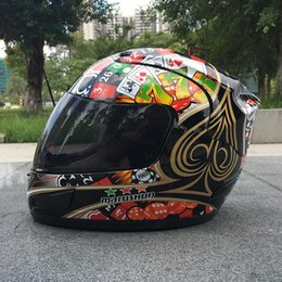 motorcycle helmets full face flip up Coupons - MALUSHUN A1 Motorcycle Helmet Moto Capacete Flip Up Poker Printing Full Face Racing Helmets Casque De Moto