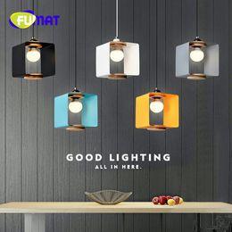 Wholesale Free Shopping Malls - FUMAT Simple Art Single Head Restaurant Chandelier Coffee Shop Lamp Milk Tea Shop Lamp Bar Nordic Solid Wood Lamp Free Shipping