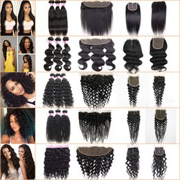 Wholesale Natural Brown Black Peruvian Hair - Brazilian Virgin Hair 3 Bundles with Lace Frontal Closure Straight Human Hair Kinky Curly Body Deep Wave Peruvian Hair Bundles with Closure