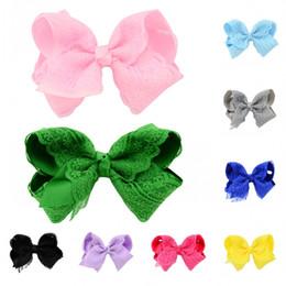 Wholesale Hair Ribbon Dhl - 12 Colors Elegant Flower Lace HairPins Hair bows For Younger Kids Newborn Girl Ribbon Bowknot Hair Clips Headwear Free DHL D496Q