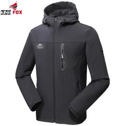 Wholesale Fox Shell - Wholesale- KING FOX men`s fashion autumn winter jacket men women outwear soft shell waterproof brand clothing sportswear bomber jacket 5XL
