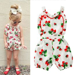 Wholesale Girls Suspender Pants - Girls Strawberry Printed Rompers Breathable Cool Baby Girls Jumpsuits Sweet Strawberry Summer Vest Clothes Suspender Pants 3-24M