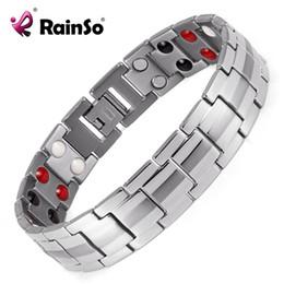 2019 pulseras curativas para hombre. Rainso Fashion Jewelry Healing FIR Magnetic Titanium Bio Energy Bracelet Para Hombres Accesorios de Presión Arterial Pulseras de Plata rebajas pulseras curativas para hombre.