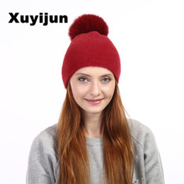 Wholesale Knitted Ball Covering - Xuyijun Natural fur fox pom poms ball Keep warm winter hat woman girls wool knitted hats cover thick skullies beanies
