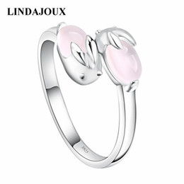 Wholesale Rabbit Ring Silver - whole saleLINDAJOUX Fashion Cute Silver Rabbit Shaped With Pink Stone Open Ring for Women Wedding Bands Party Rings resizable