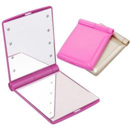 Mini espelho conduzido on-line-Lady Maquiagem Cosméticos Portátil Dobrável Mini Compact Espelho de Bolso 8 Luzes LED Lâmpadas Espelhos Presentes de Venda Quente SN1026