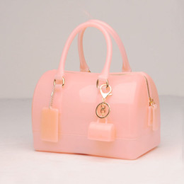 Wholesale Peach Ribbons - JELLYOOY Medium Size 18cm Pure Colors PVC Women Jelly handbag Pillow Shoulder Bag Candy Color Silicon Tote Beach messenger Bag FA005