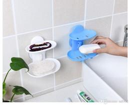 2019 piatto di sapone Novità Sapone regolabile Piatti Bagno Senza traccia per scatola di stoccaggio a parete Due strati in plastica Sapone Holder robusto 2mh ZZ piatto di sapone economici