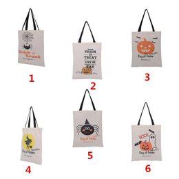 2019 perline di vaso di vaso Borse di stoffa di Halloween Maniglia sacchetti di acquisto di zucca Sacchetti di regali di festival Borsa di tela di Halloween 6 stili