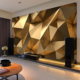 Wholesale country style wallpaper - Custom Photo Wallpaper 3D Stereo Abstract Space Golden Geometry Mural Modern Art Creative Living Room Hotel Study Wall Paper 3 D