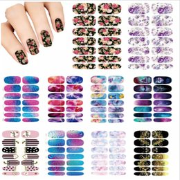 Flores del arte del clavo online-Nails Art Lot flor Mystery Galaxies Diseño de pegatinas para uñas Decoración de manicura Moda Nail Stickers Wraps Water Sticker Calcomanías