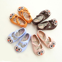 Wholesale jelly shoes for babies - Mini SED Cute Baby Jelly Shoes Non-slip Owl Sandals Breathable Summer Beach PVC Foothold for Baby Girls