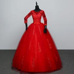 Wholesale Quarter Photo - Customized White Red Wedding dress 2017 New Arrival Spring Summer 3 Quarter Sleeve Sweet Princess Bridal Gowns Vestidos De Novia