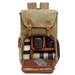 Leinwand slr kamerataschen online-Neue SLR Kamera Rucksack Tasche Wasserdicht CanvasLeather Retro Kamera Tasche Rucksack Reise