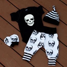 Puseky New 2017 Autumn Halloween Skull Baby Clothes Newborn Infant Boy Girl  Romper Tops Leggings Pants Hat Outfit 4pcs 0-24M discount cute newborn baby  boy ... 2f6b02cb5255