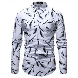 Mode Schwarz Weiß Floral Shirt Männer 2018 Frühling Herbst Neue Slim Fit  Langarmhemd Mens Casual Dress Shirts Chemise Homme günstig chemise schlanke  mode 46440d4d96