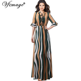 Canada Vfemage Femmes Tie Neck Volants Demi-Bell Manches Colorblock Contrast Strips Imprimé Flowy Causal Beach A-ligne Maxi Longue Robe 815 supplier long sleeve colorblock dress Offre