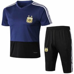 Argentina Camiseta de entrenamiento de mangas cortas de la Copa Mundial 2018 de calidad superior de 3/4 pantalones de entrenamiento de MESSI AGUERO DI MARIA de manga corta supplier messi argentina uniform Suministro