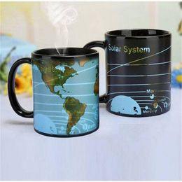 Магия Солнечной системы Земля Ceramic Изменение цвета чашки кофе Кружка чая предметы домашнего обихода кухня барные посуда для питья посуда кружки от Поставщики пиратские стаканы