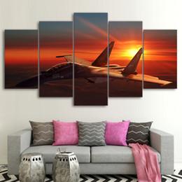 flugzeug gemälde Rabatt HD Gedruckt Wand Kunst Rahmen Leinwand Bilder Flugzeug Poster 5 Stücke Flugzeug Sonnenuntergang Gemälde Wohnzimmer Cuadros Wohnkultur