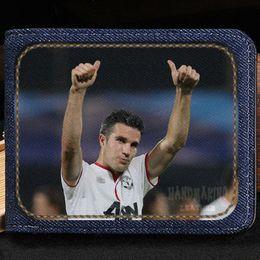 Wholesale Football Wallets - Robin van Persie wallet Soccer idol purse Football star short cash note case Money notecase Leather burse bag Card holders