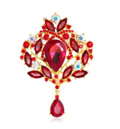 Canada 9.8 * 6.5 cm Grand Cristal Waterdrop Top Qualité Or Tone Drop Broche Exquis Grand Diamante Bijoux Broche Grand Cristal Femmes Broche Cadeau supplier large crystal broaches Offre