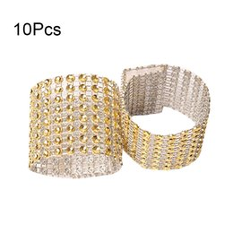 crystal ribbon cake Promo Codes - 10Pcs Mesh Trim Bling Diamond Wrap Cake Napkin Ring Roll Crystal Ribbons Party Wedding Table Decoration Party 8 XH8Z