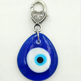 Wholesale turkish eye lucky charm - Fashion Jewellery Mixed style Turkish Blue Glass Evil Eye Charm Pendant Lucky Keychains Car Amulet Decoration Turkey Kabbalah-2