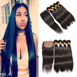 Wholesale Silk Base Hair Closures - Wholesale Price Brazilian Virgin Hair Weave with Base Closure 8A Brazilian Straight Hair 3 Bundles Human Hair with 4x4 Top Silk Base Closure