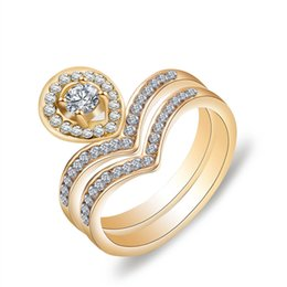 diamond gypsy ring Canada - Exquisite Two piece set Luxurious full zircon diamond heart-shaped 18K Gold Plated lovers women rings for girlfriend gift