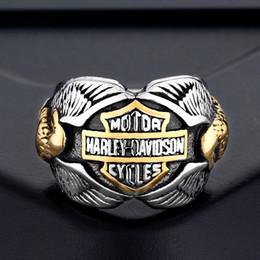 anéis de rocha escalando Desconto 2018 homens anéis de aço Inoxidável Europeu e Americano Da Motocicleta dos homens dos homens Águia Dupla águias anéis anel de hip hop jóias