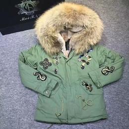 Meifng-S-4XL (007snake бусины короткие / длинные) ЕС США енот меховой воротник бежевый Паркер, женщины тотем бисером искусственный мех лайнера зеленое пальто от Поставщики вязать длинную шубу из кролика