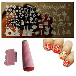 Wholesale Nail Stamp Halloween - Wholesale- 3Pcs Lot Christmas Stamping 1 Nail Art Image Plate+1 2-Sides Stamper Scraper Knife Set Halloween theme DIY Stamp Template JW116
