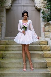 Wholesale Designer Shirts Images - Chic White Lace Pink Satin Short Wedding Dress Cheap 2018 A line With Long Sleeves Applique V neck Country Garden Designer Wedding Gowns